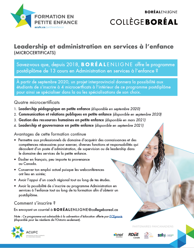 4 microcertificats en Administration en services à l'enfance au Collège Boréal en ligne