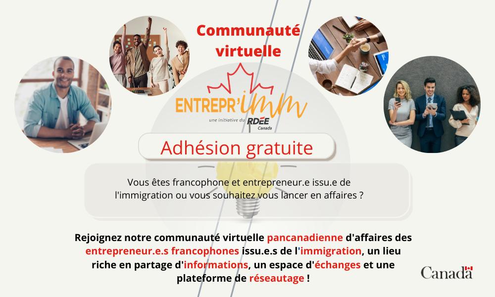 Le RDÉE Canada lance sa communauté virtuelle Entrepr'IMM!