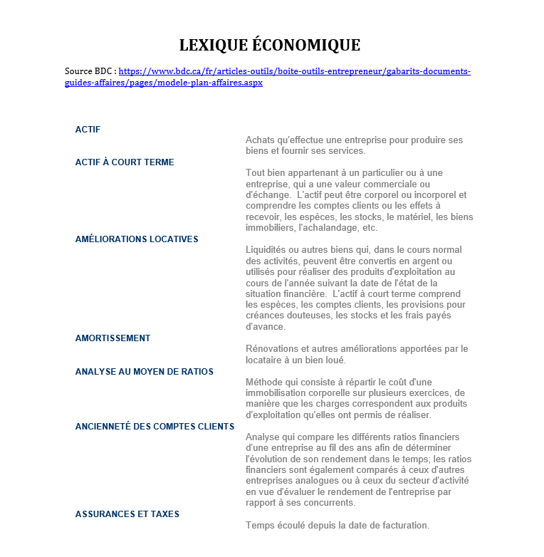 Lexique économique